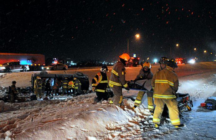 (VIDÉO) Violente embardée sur l'autoroute 20 au niveau de Saint-Germain-de-Grantham – On dénombre 3 blessés