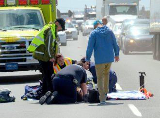 Accident de motocycliste sur l'autoroute 20 est – Le conducteur d'une moto sport éjecté de son véhicule