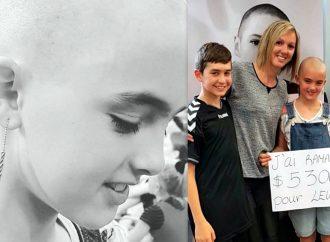 Défi têtes rasées – Laurence Gougeon agée de 10 ans monte sur le «podium»