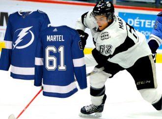 L'attaquant Drummondvillois Danick Martel est réclamé par le Lightning de Tampa Bay de la LNH