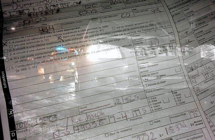 Surf de voiture: «Une ride» de 2493 $ en constats d'infractions pour deux Drummondvillois