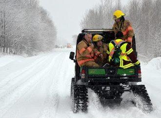 Accident de motoneige à Drummondville: Les pompiers interviennent