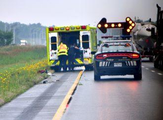 Un accident de moto fait un blessé sur l'autoroute 20 Ouest à Saint-Cyrille-de-Wendover