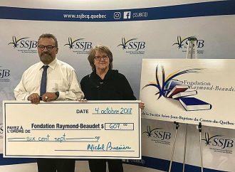 Don de 607 $ versé à la Fondation Raymond-Beaudet