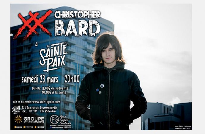 Christopher Bard en spectacle à La Sainte-Paix de Drummondville le 23 mars