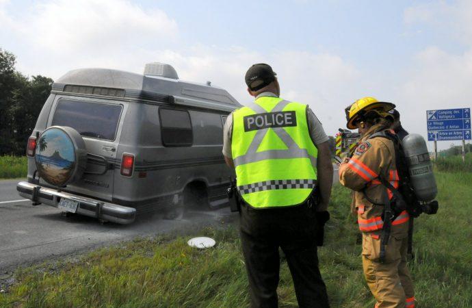 Incendie de motorisé sur l'autoroute 20