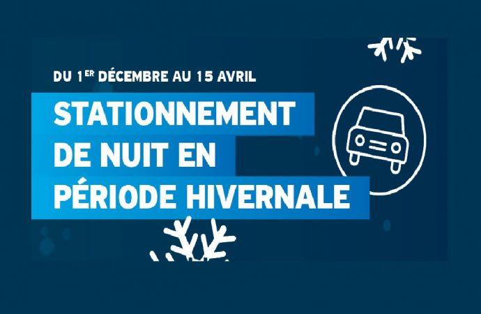 Règles sur le stationnement de nuit dans les rues et stationnements publics de Drummondville dès le 1er décembre
