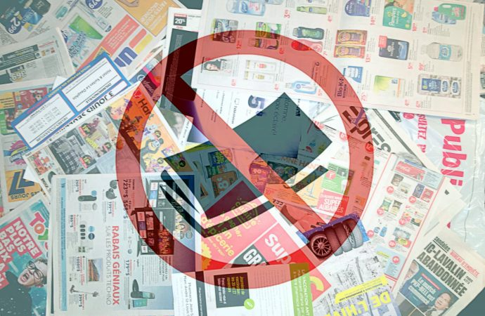 Réduire l'empreinte écologique en ne consommant pas les divers articles publicitaires format papier à Drummondville