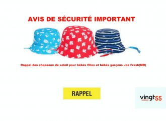 AVIS DE SÉCURITÉ IMPORTANT: Rappel des chapeaux de soleil pour bébés filles et bébés garçons Joe Fresh(MD)