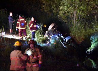 Une violente embardée a fait deux blessés graves à Drummondville.