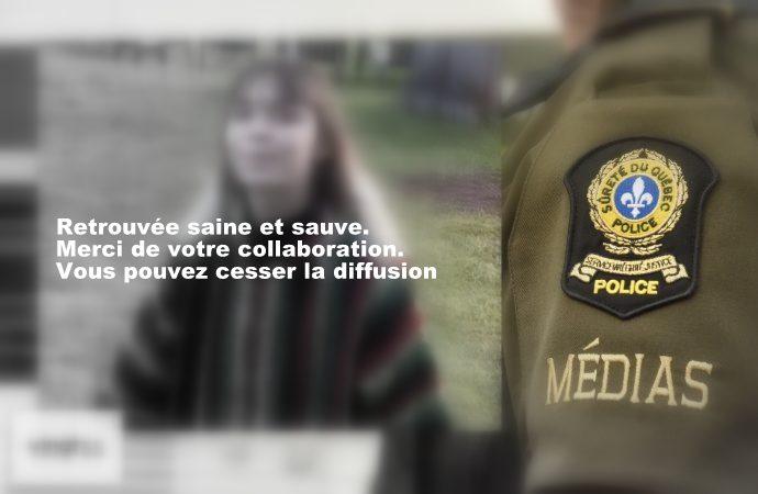 Retrouvée – La Sûreté du Québec confirme que  Charlotte Guévin 16 ans, a été retrouvée saine et sauve