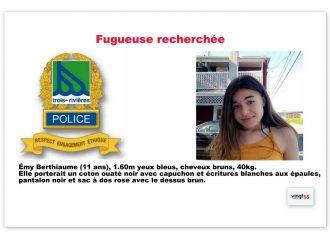 La police de Trois-Rivières est toujours à la recherche d'une jeune fugueuse