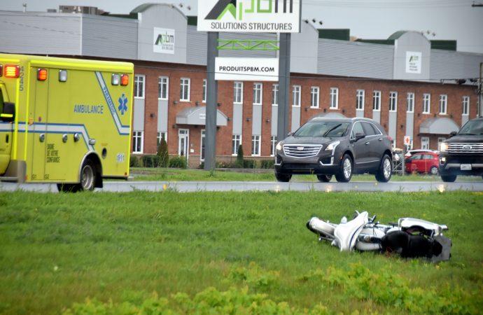 Accident de motocyclette sur l'autoroute 20 ouest près de Drummondville