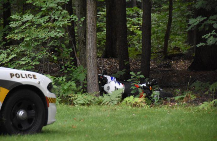 Un suspect de vol tente de semer les policiers sur une moto sport