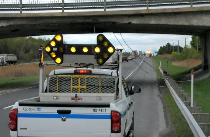 Un fardier percute un viaduc sur l'autoroute 20 Ouest à NDBC près de Drummondville