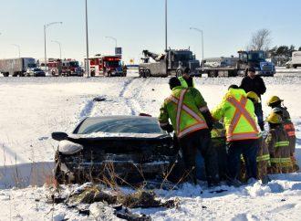 Sortie de route près de Drummondville, les pneus en cause