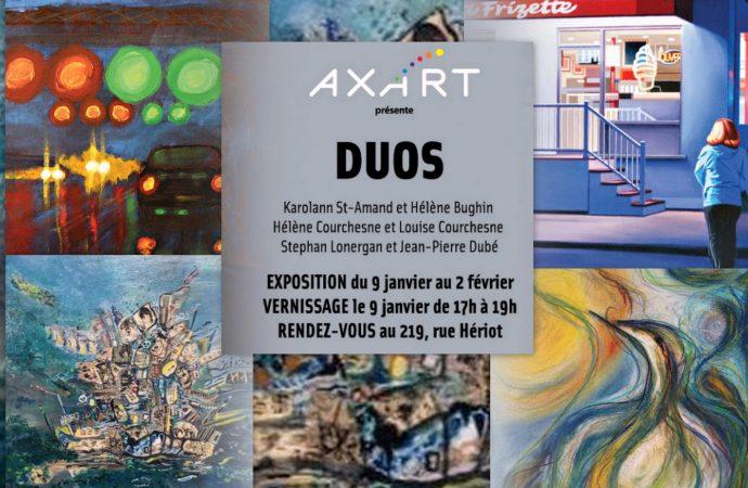 """Vernissage de l'exposition """"DUOS"""" un collectif d'artistes d'AXART jumelés à des artistes invités"""