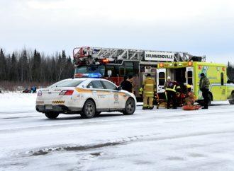 Un motoneigiste évacué par les pompiers suite à un accident à Drummondville