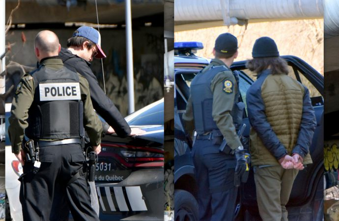 Les policiers de la Sûreté du Québec procèdent à l'arrestation de deux graffiteurs à Drummondville