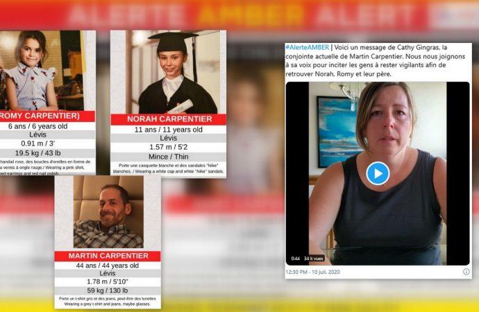 Alerte AMBER : Toujours sans nouvelles de Romy 6 ans, Norah 11 ans et du père Martin Carpentier