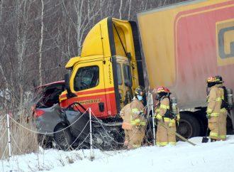 Un accident majeur force la fermeture de l'autoroute 55 au Centre-du-Québec