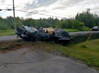 Une violente embardée fait un blessé à Drummondville