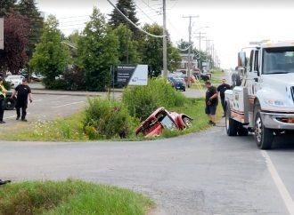 Quelques sorties de route dont un avec blessé sur le territoire de la MRC de Drummond
